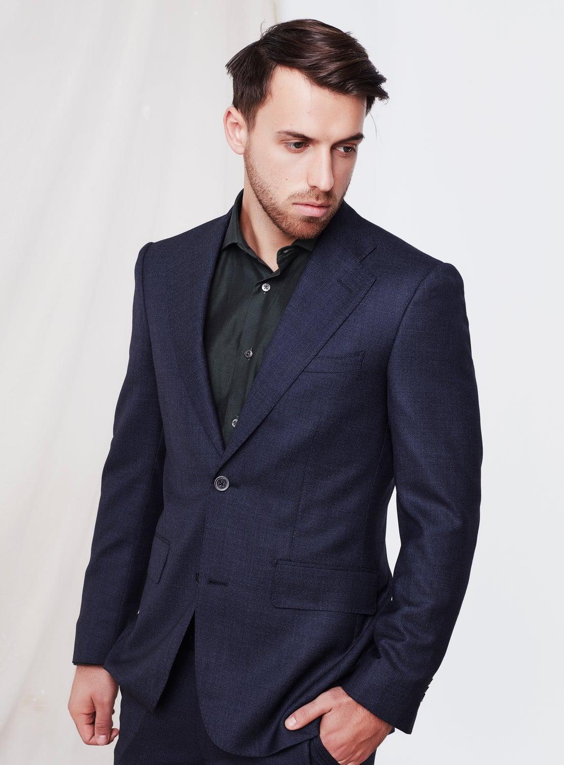 Navy Textured Suit