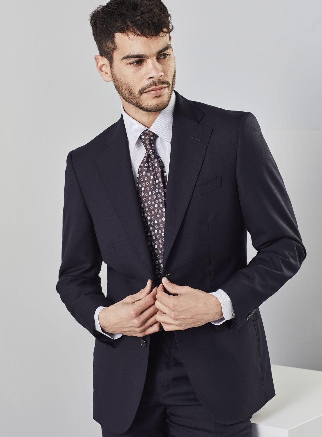 Navy Textured Suit Trouser