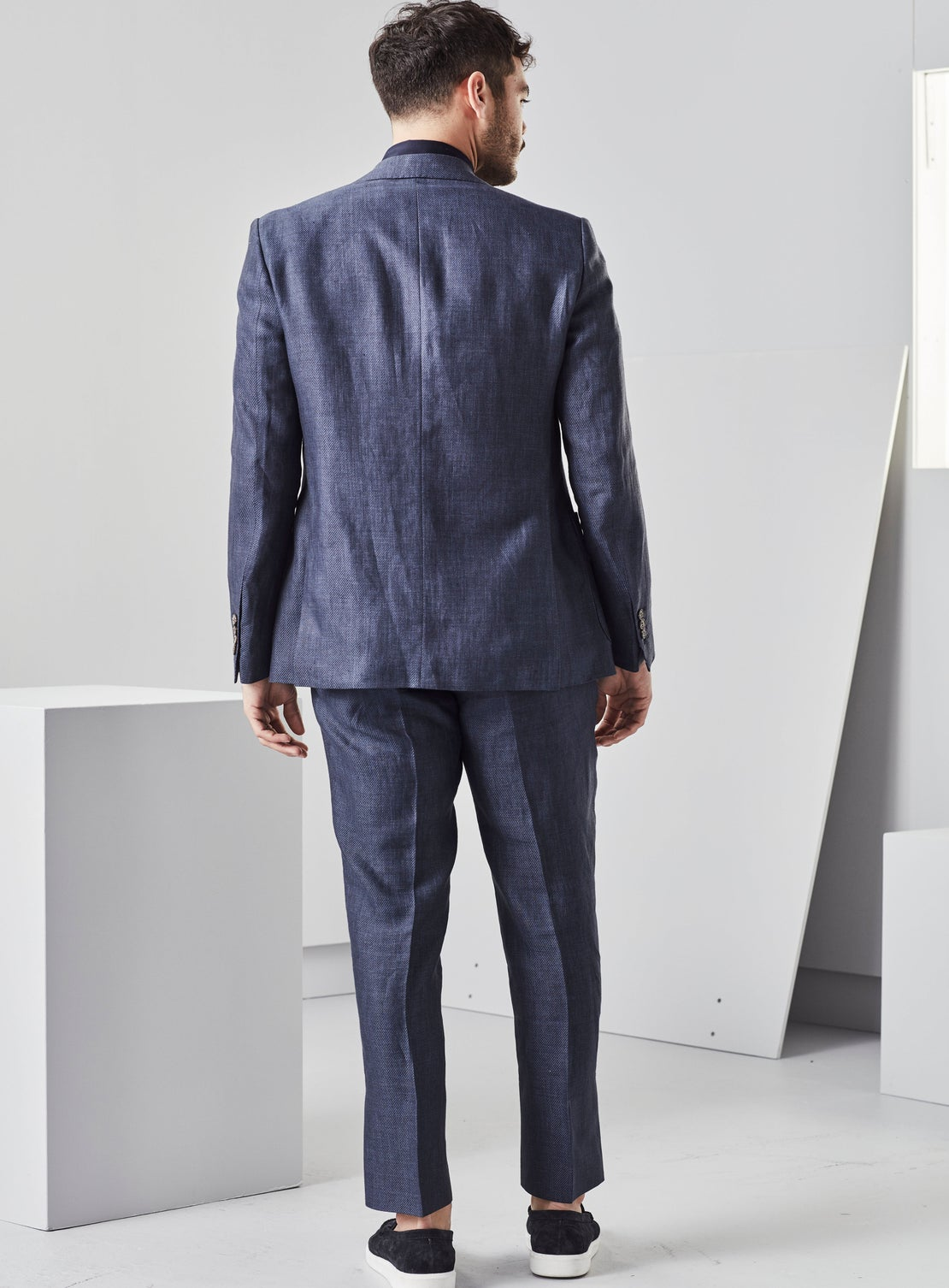 Navy Twill Linen Jacket