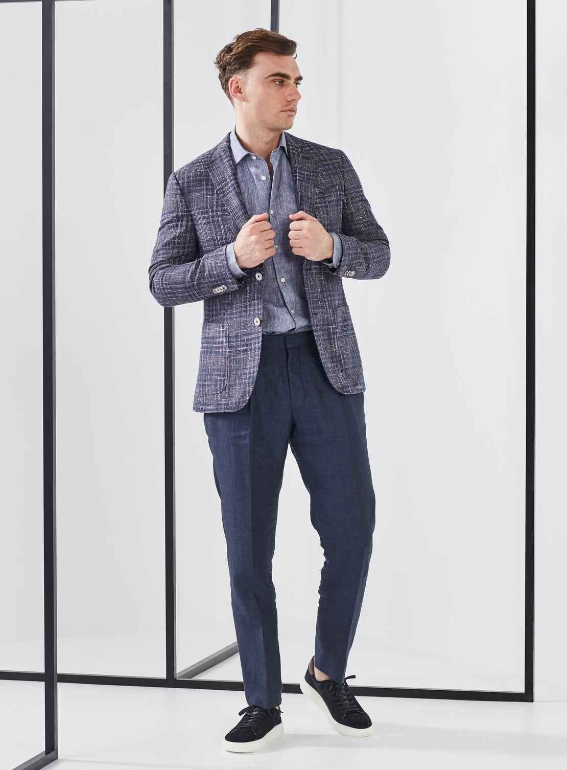 Navy Twill Linen Trouser