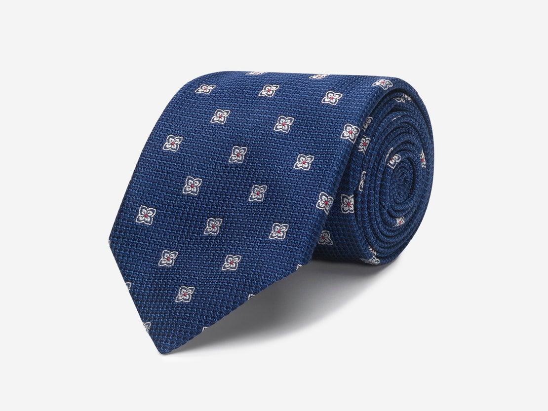 Navy & White Diamond Floral Tie