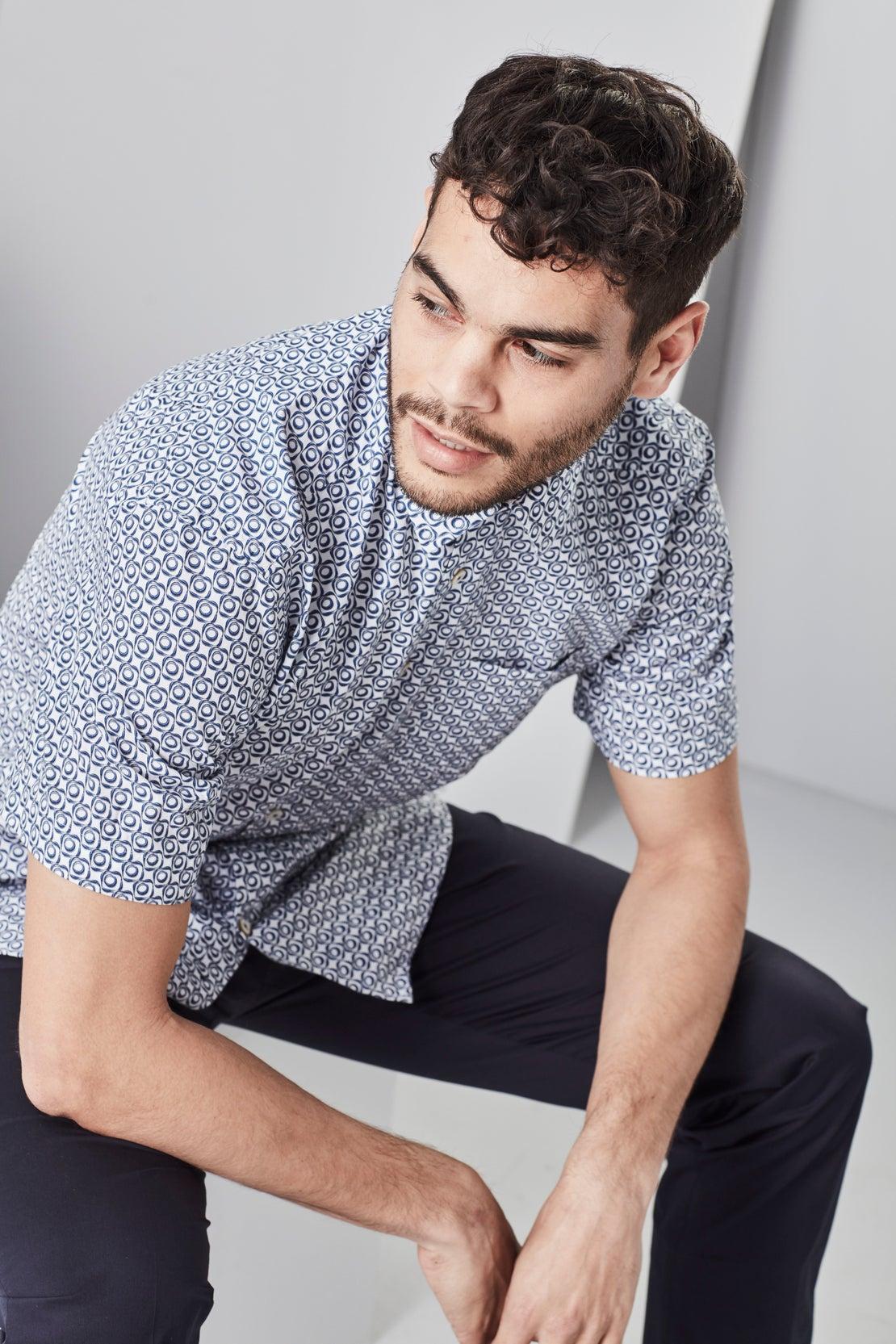 Navy & White  Geometric Short Sleeved Shirt