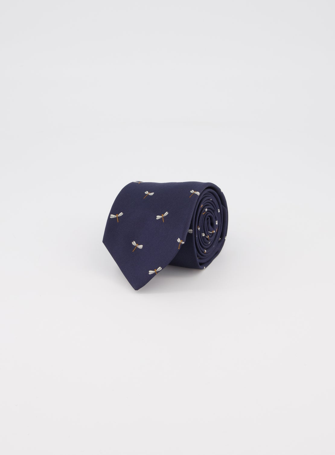 Navy with Dragonfly Design Tie