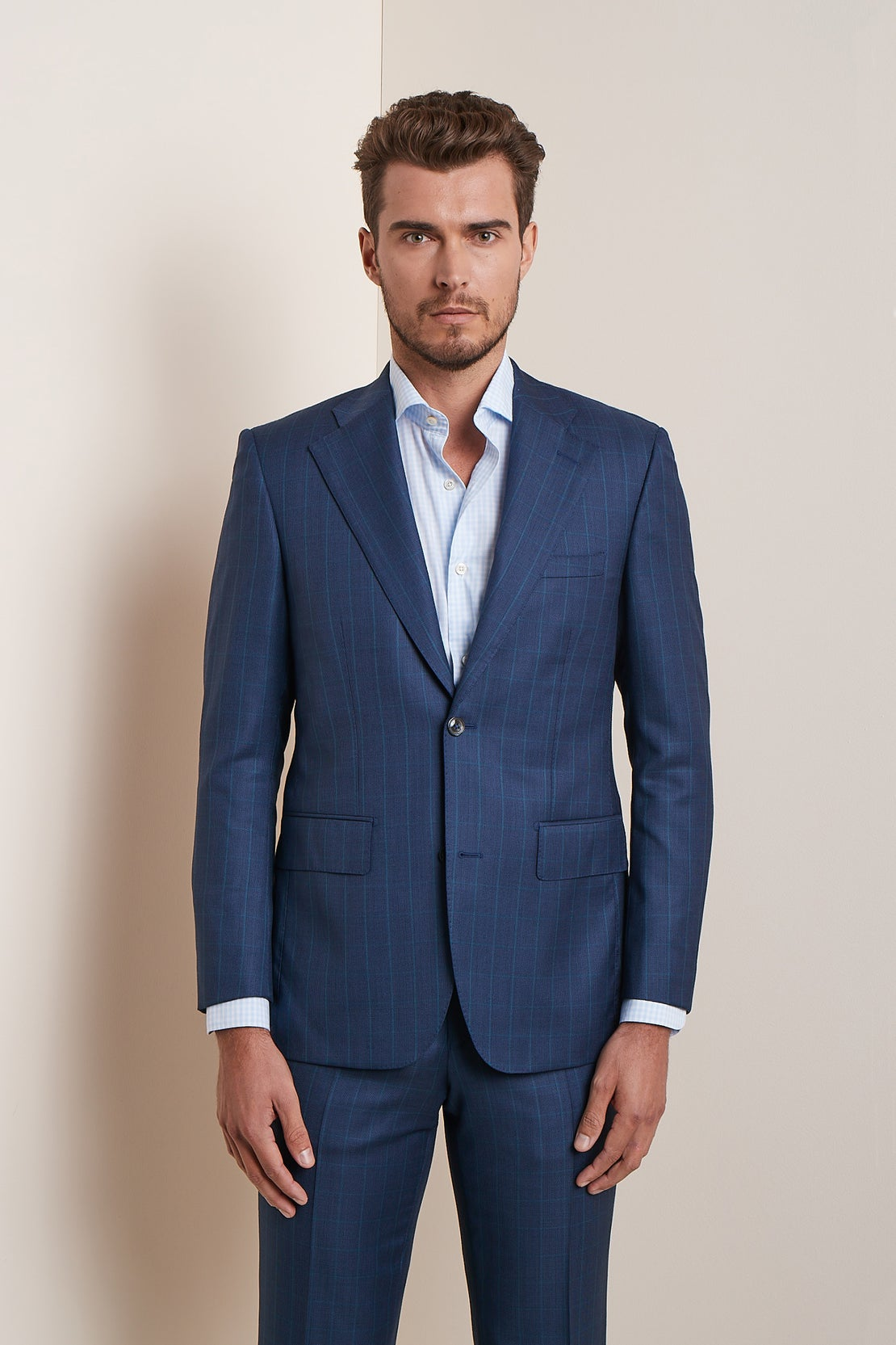 Navy with Faint Green Windowpane Check Suit