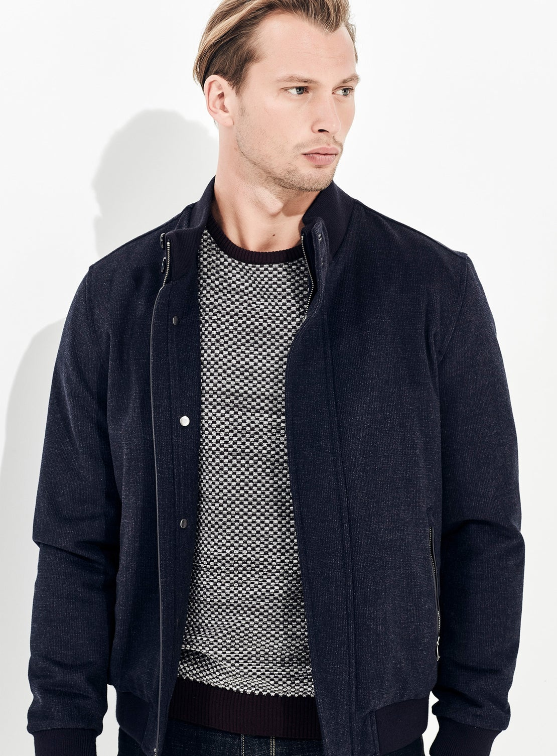 Navy with Grey Knit