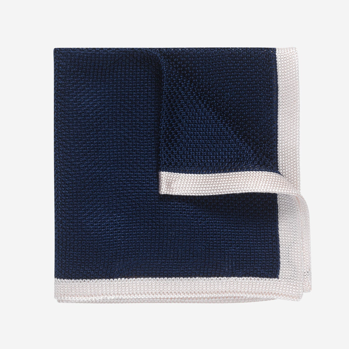 Navy with White Border Knitted Pocket Square