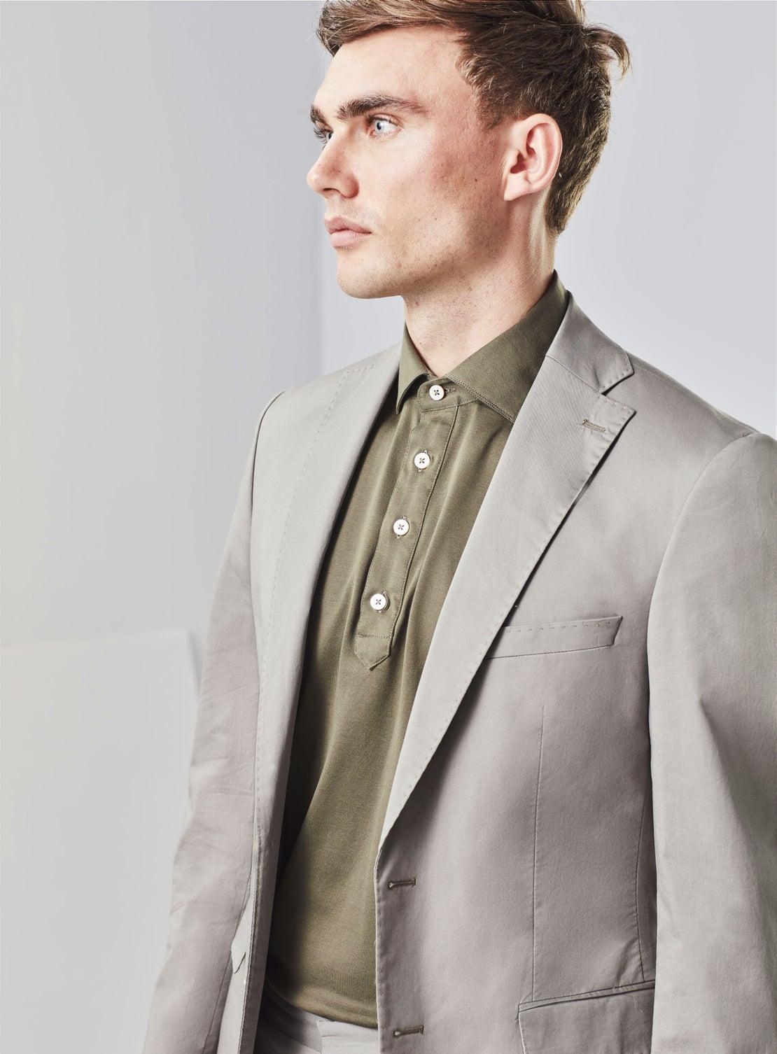 Olive Green Mercerized Cotton Short Sleeved Shirt
