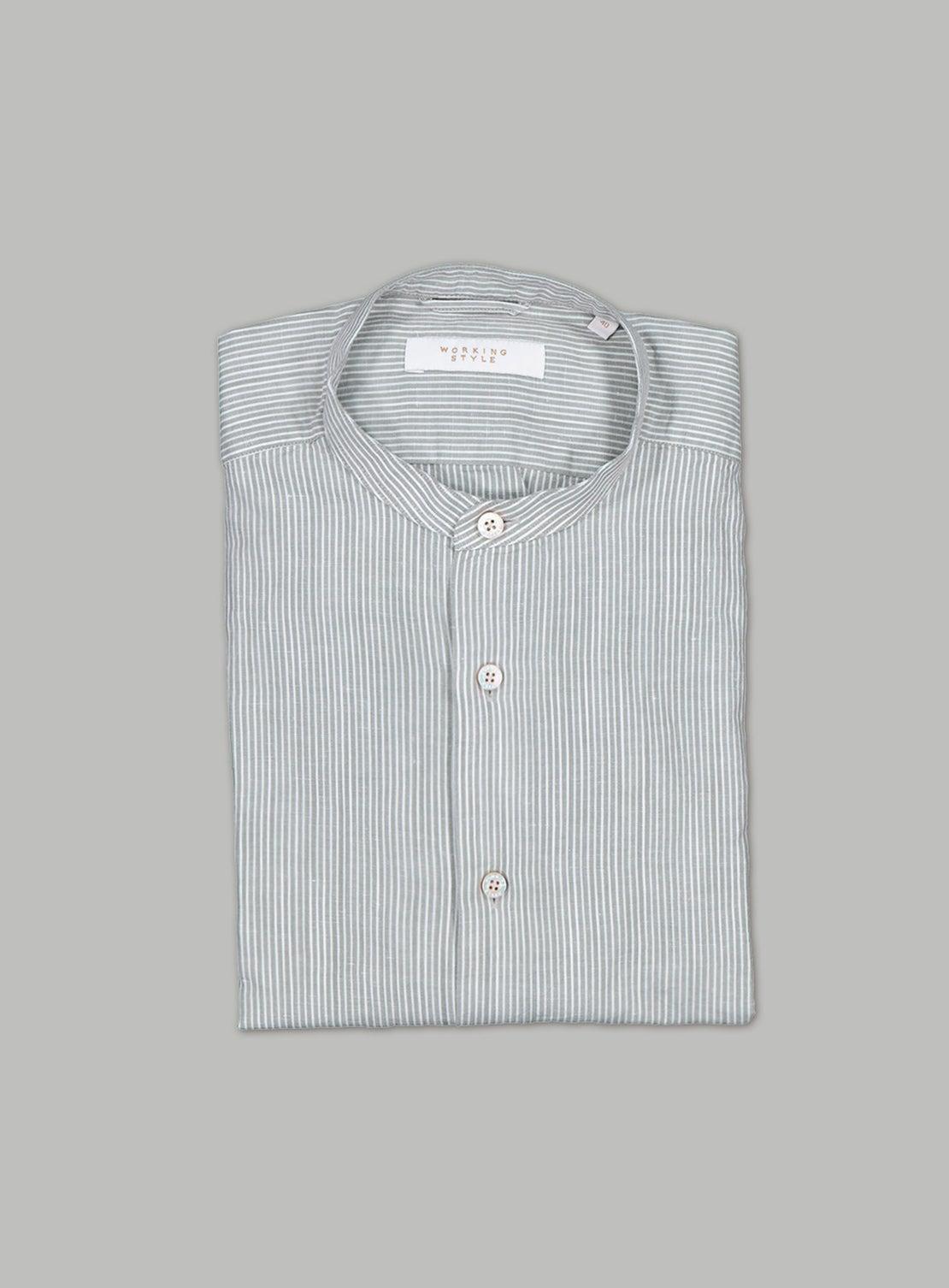 Olive Green Stripe Slub Shirt