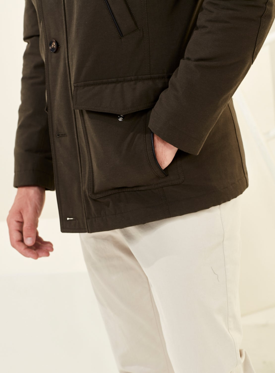 Olive Green Twill Military Jacket