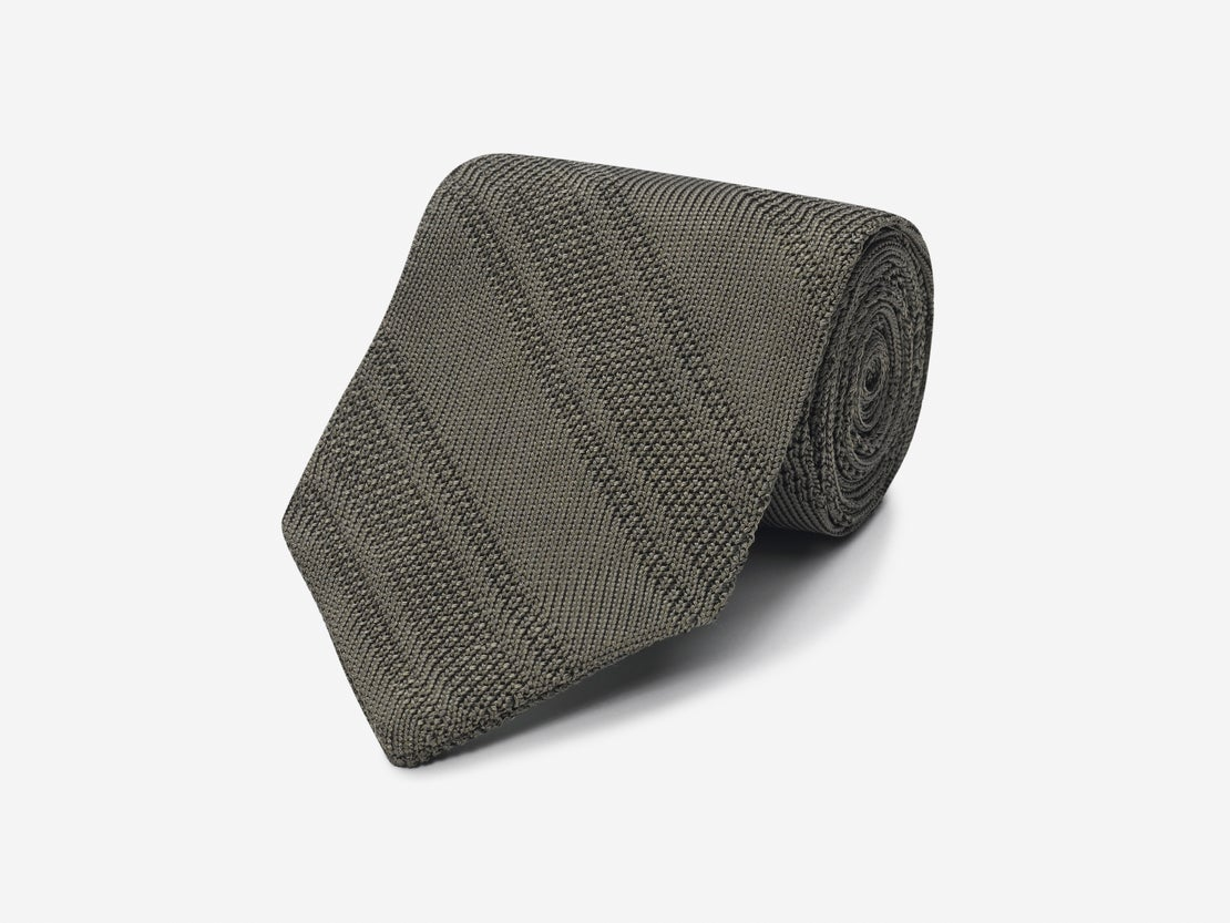 Olive Knitted Stripe Tie