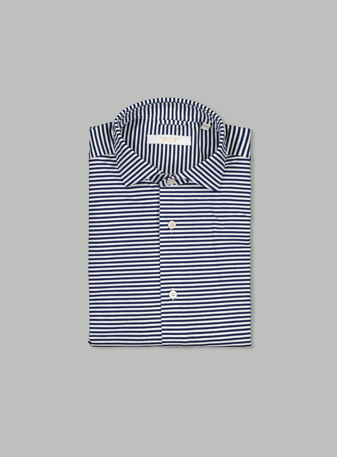 Pablo Blue Knited Stripe Shirt