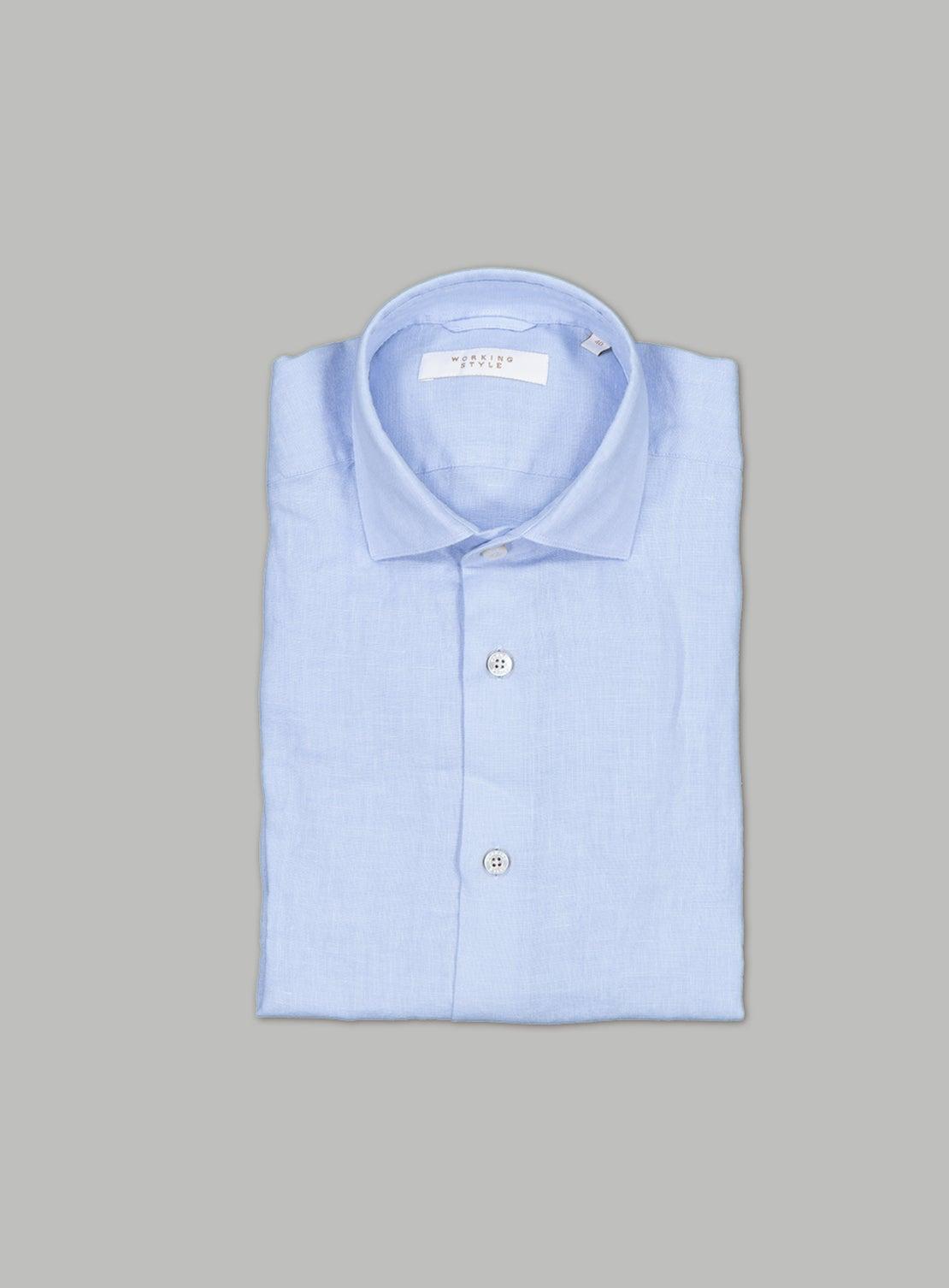 Pale Blue Linen Shirt