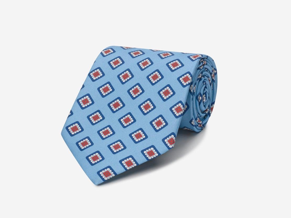 Pale Blue Square Floral Tie
