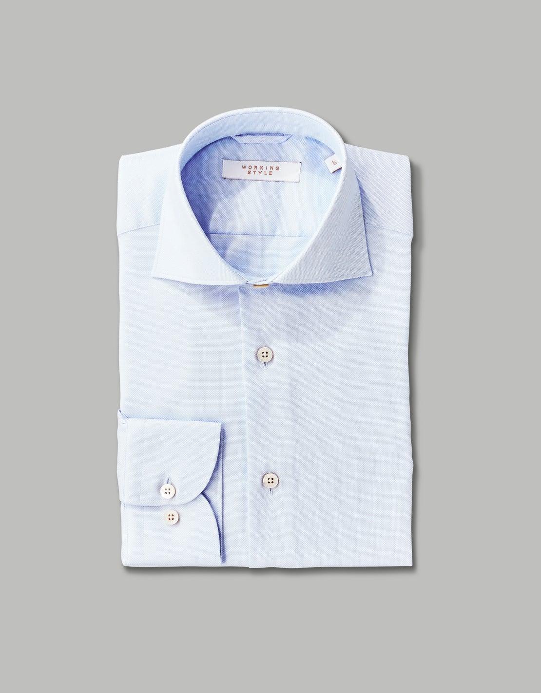 Pale Blue Zig Zag Weave Shirt