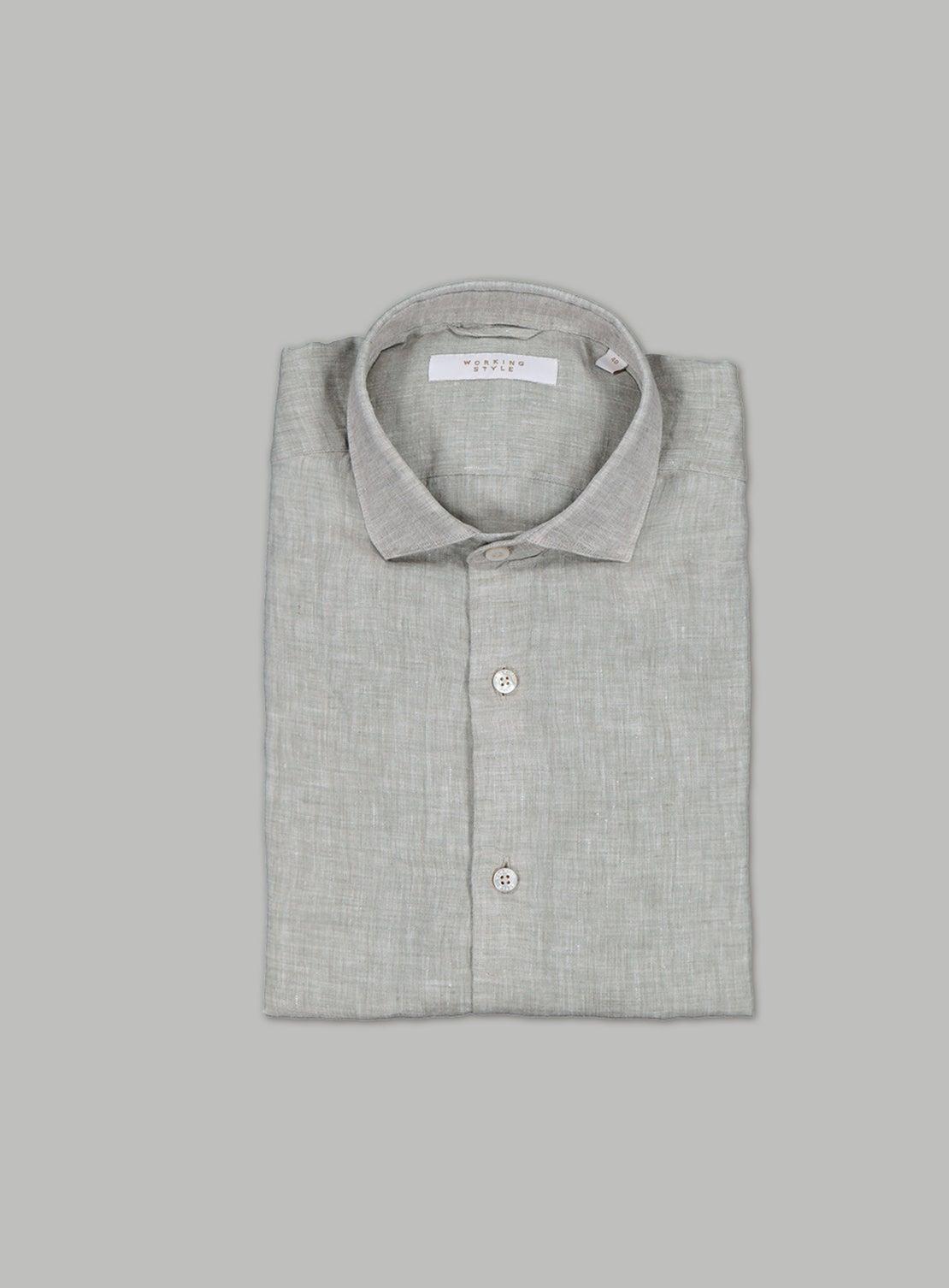 Pale Olive Linen Short Sleeved Shirt