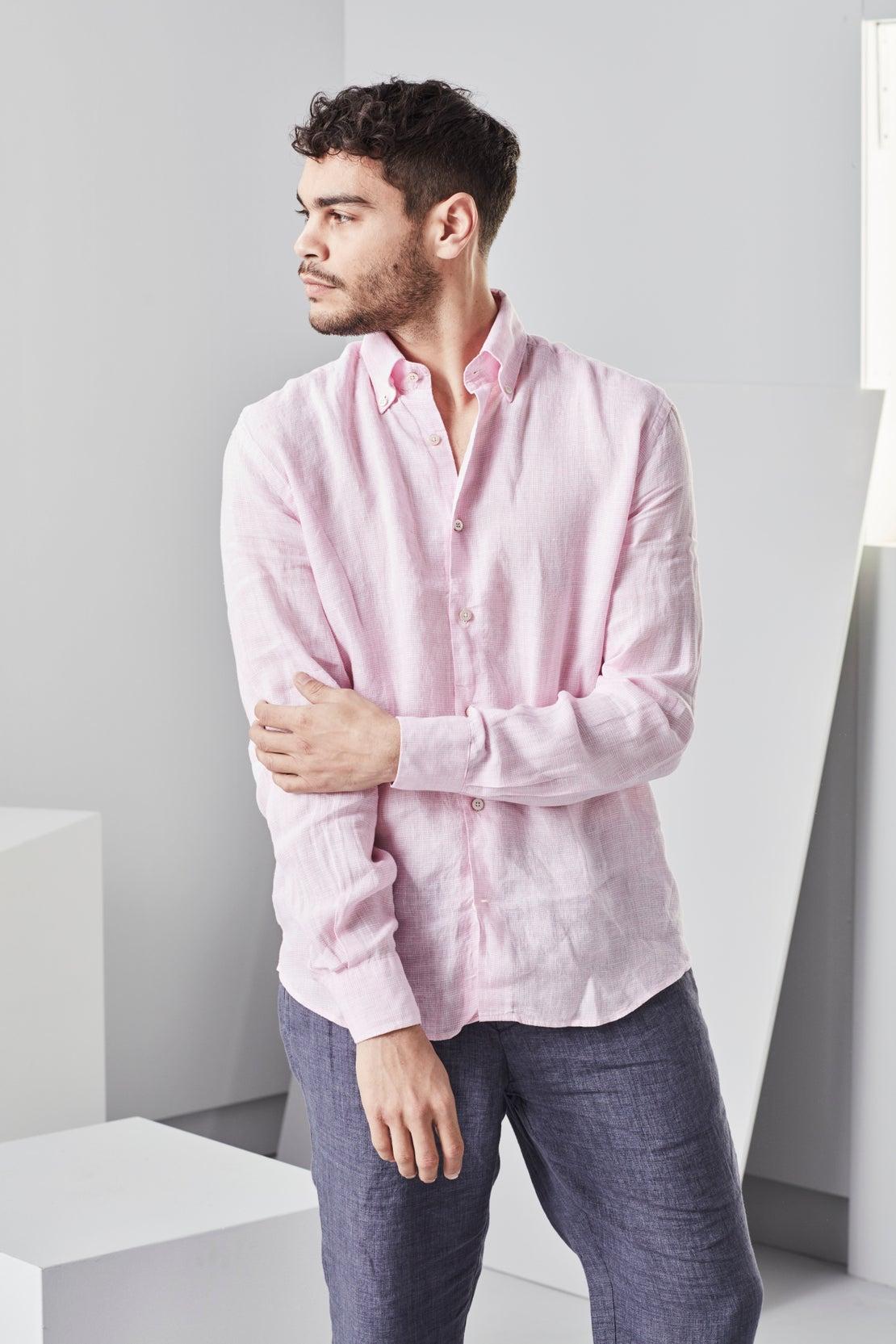 Pink Mini Houndstooth Linen Shirt