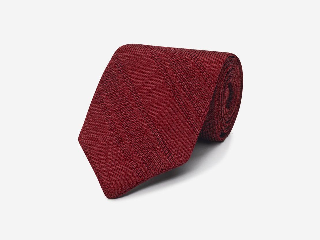 Plum Knitted Stripe Tie
