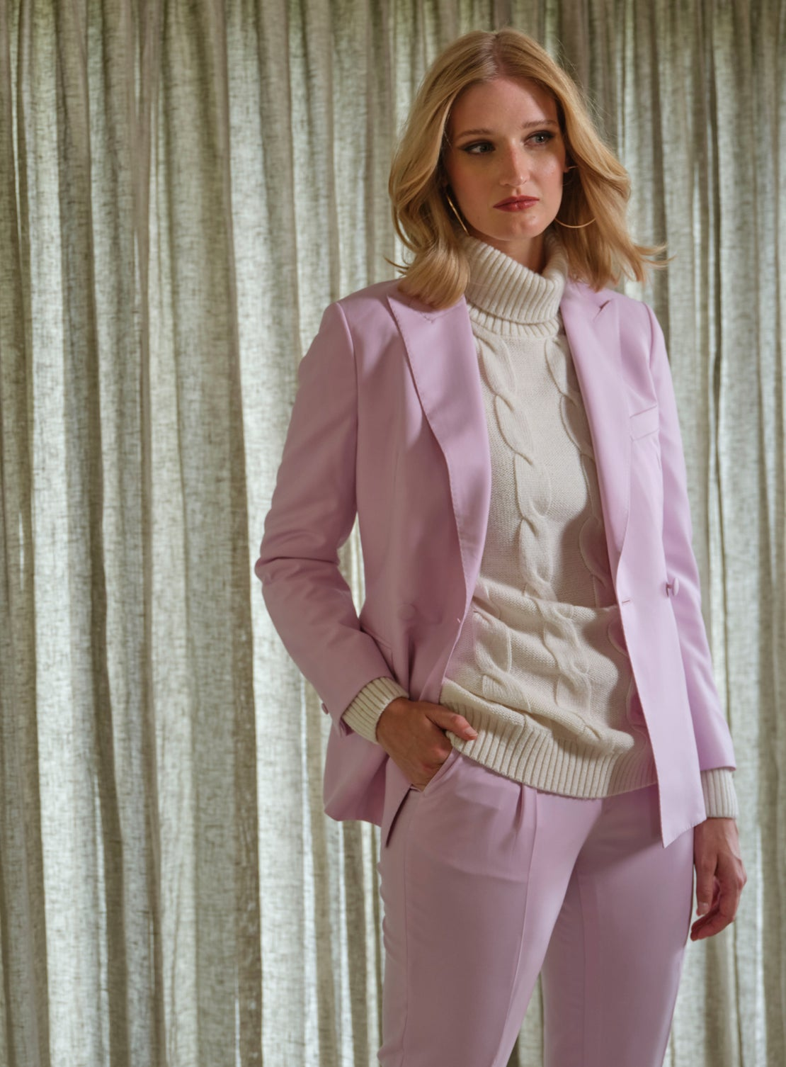 Powder Pink Double Breasted Jacket