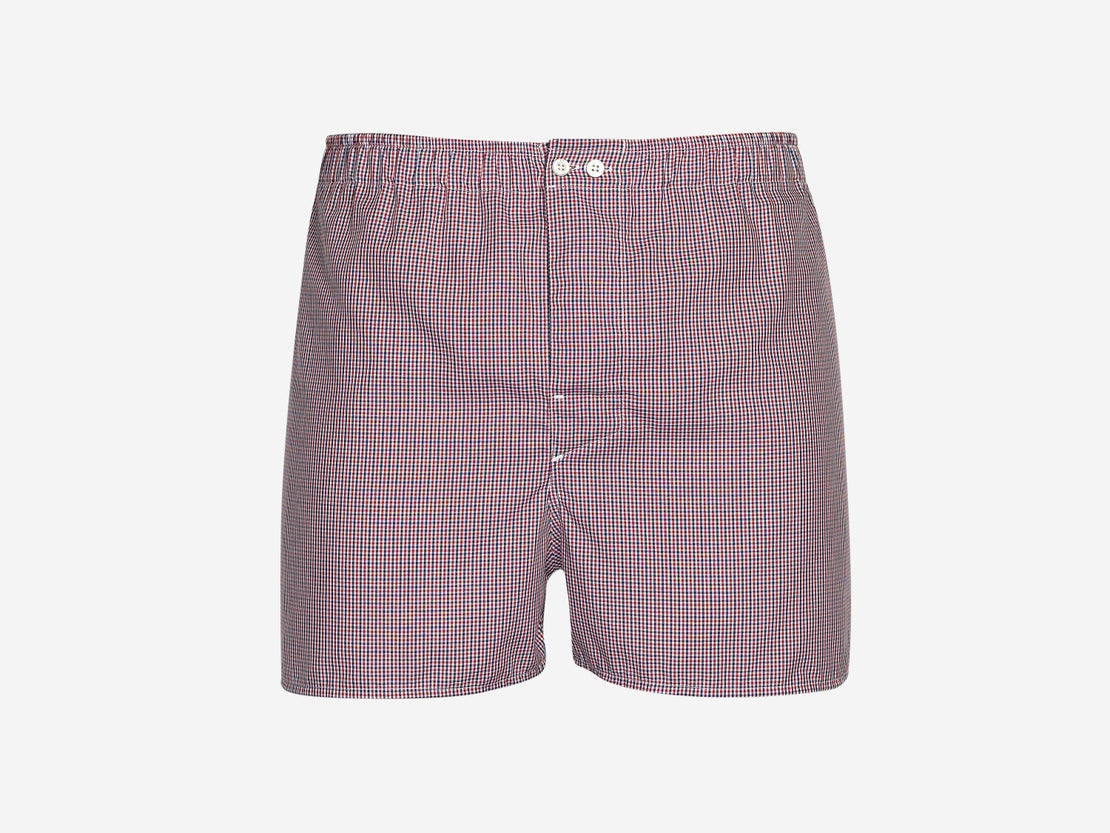Red & Navy Check Boxer Short