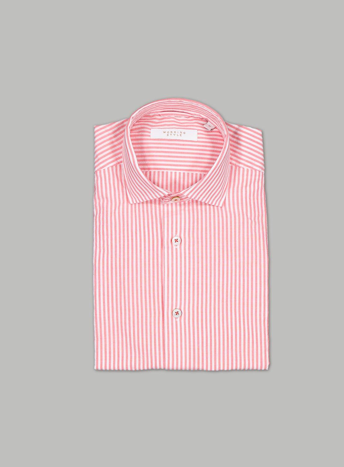 Red Seersucker Stripe Shirt