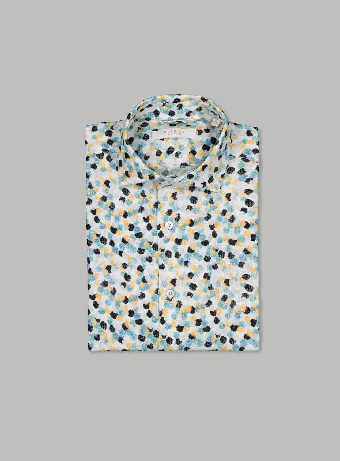 Rodolfo Blue Linen Dot Shirt