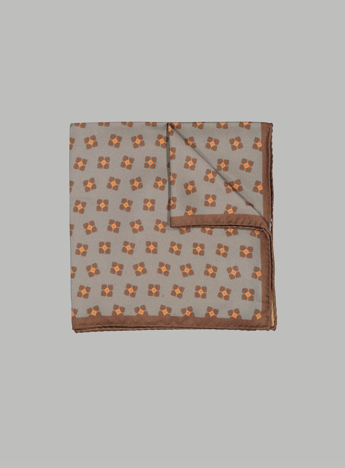 Sea Green With Rust & Orange Neat Pocket Square