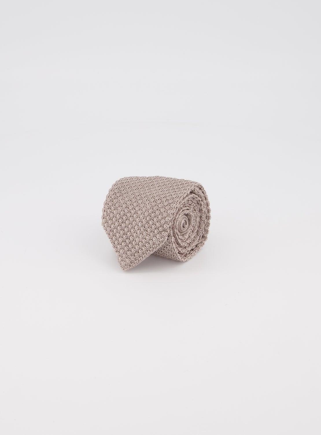 Silver Plain Knit Tie
