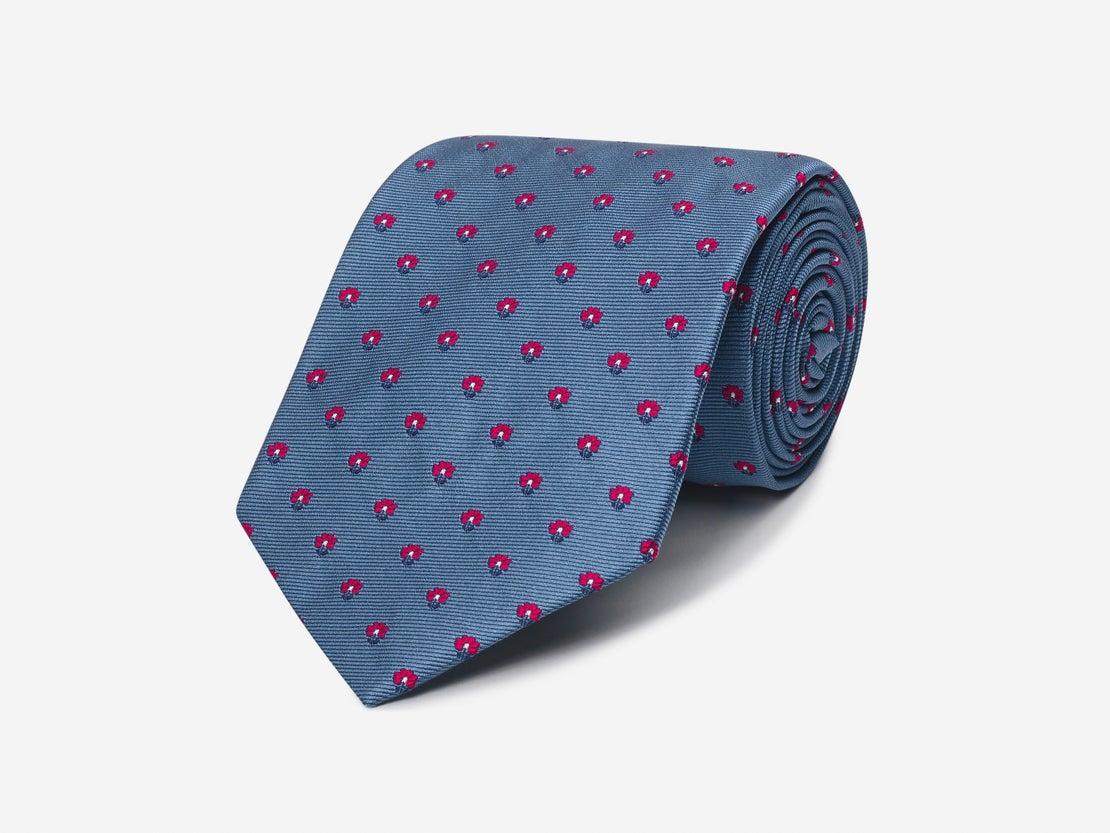Steel Blue Mini Floral Tie