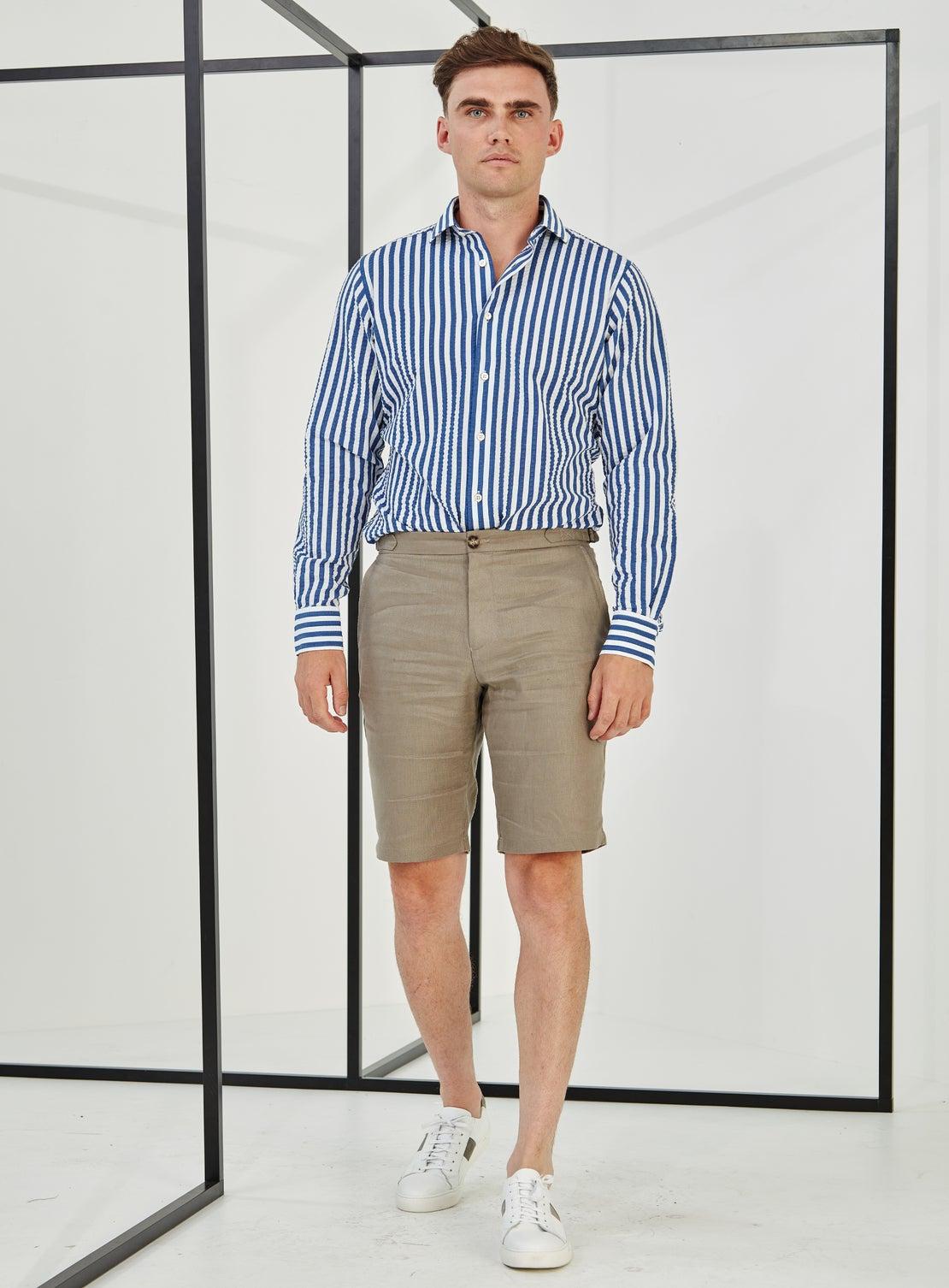 Taupe Linen Side Adjuster Shorts