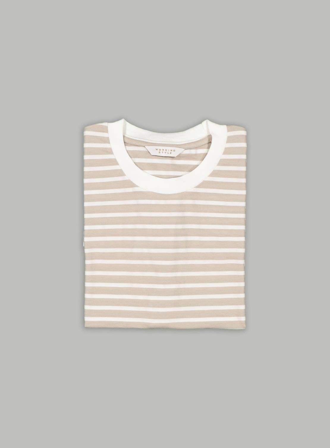 Taupe/White Stripe T-Shirt