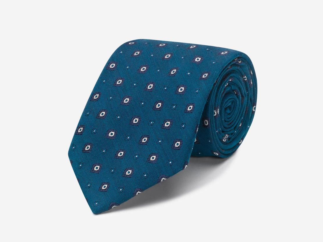 Teal Square Design Tie