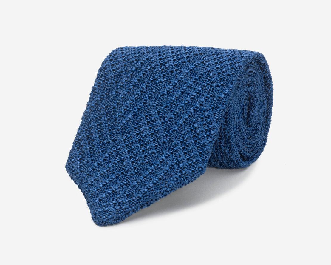 Ultramarine Pointed Knitted Silk Tie