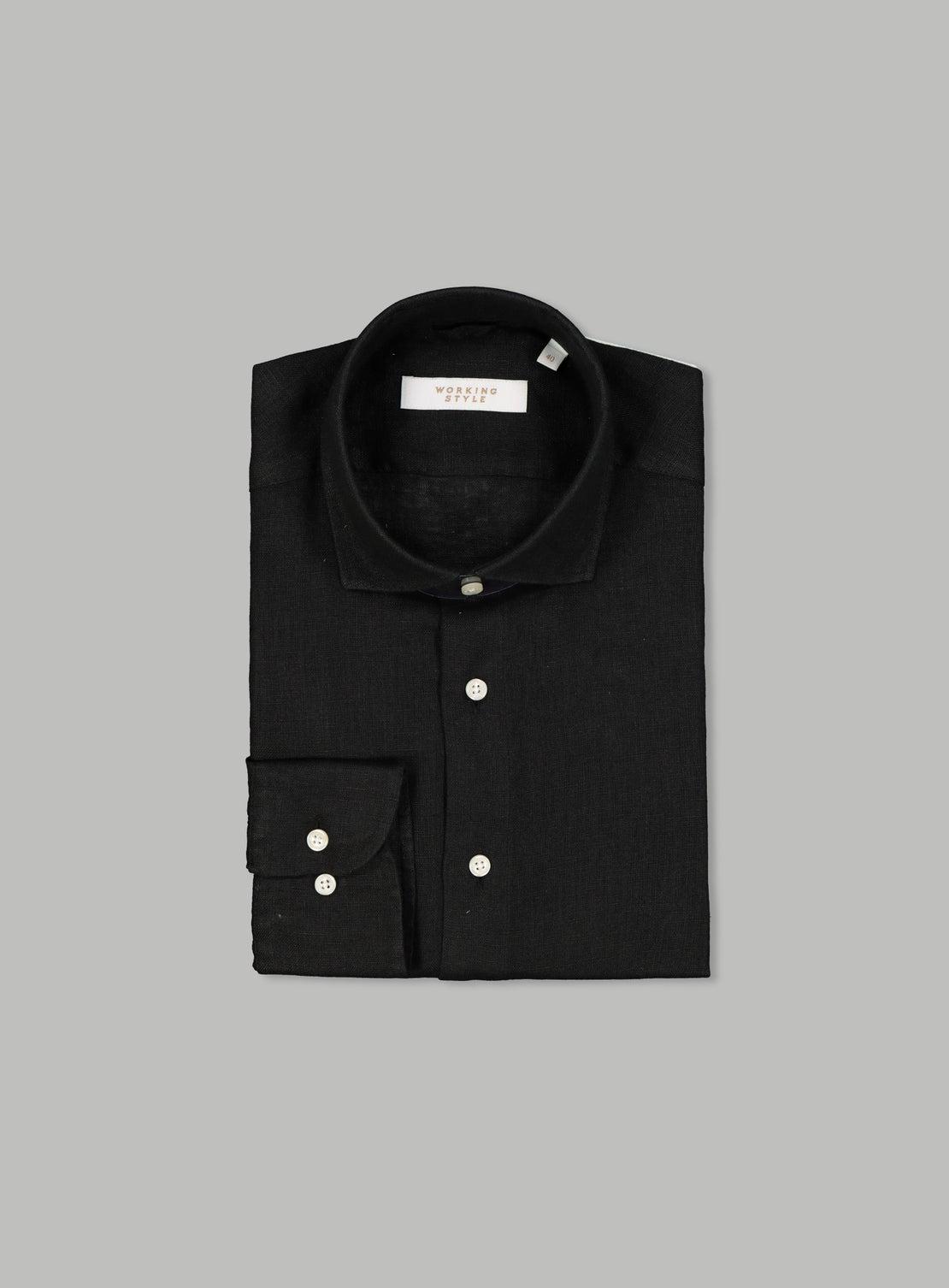 Umberto Black Linen Shirt