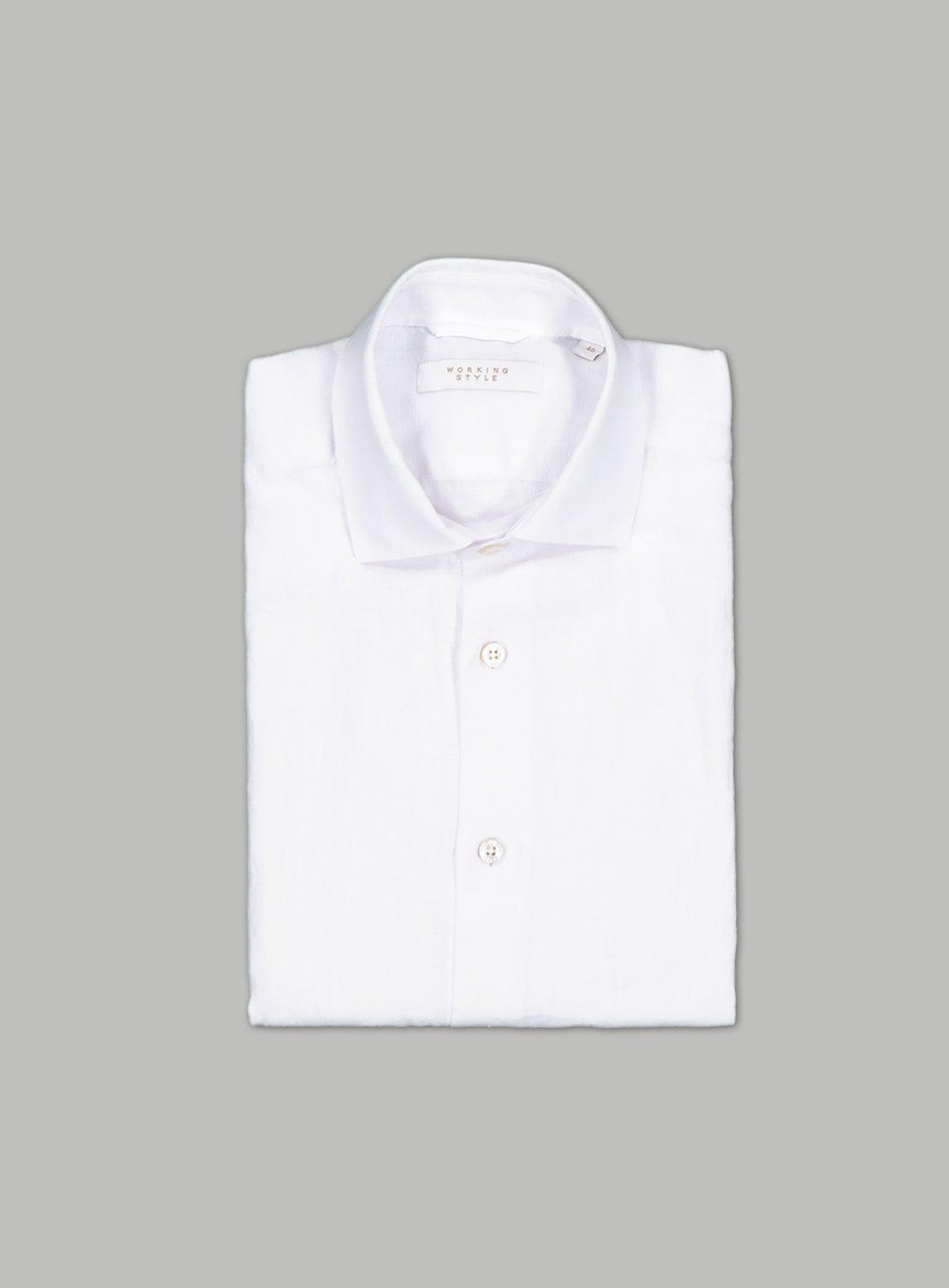 White Linen Short Sleeved Shirt