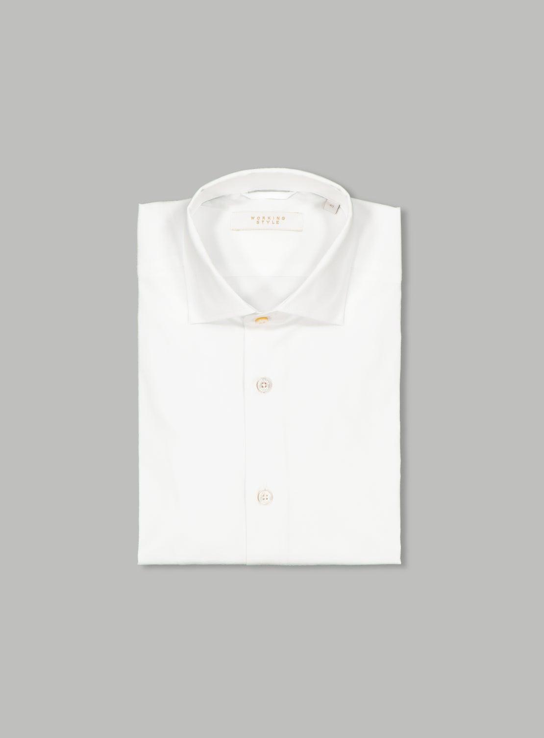 White Poplin Stretch Shirt