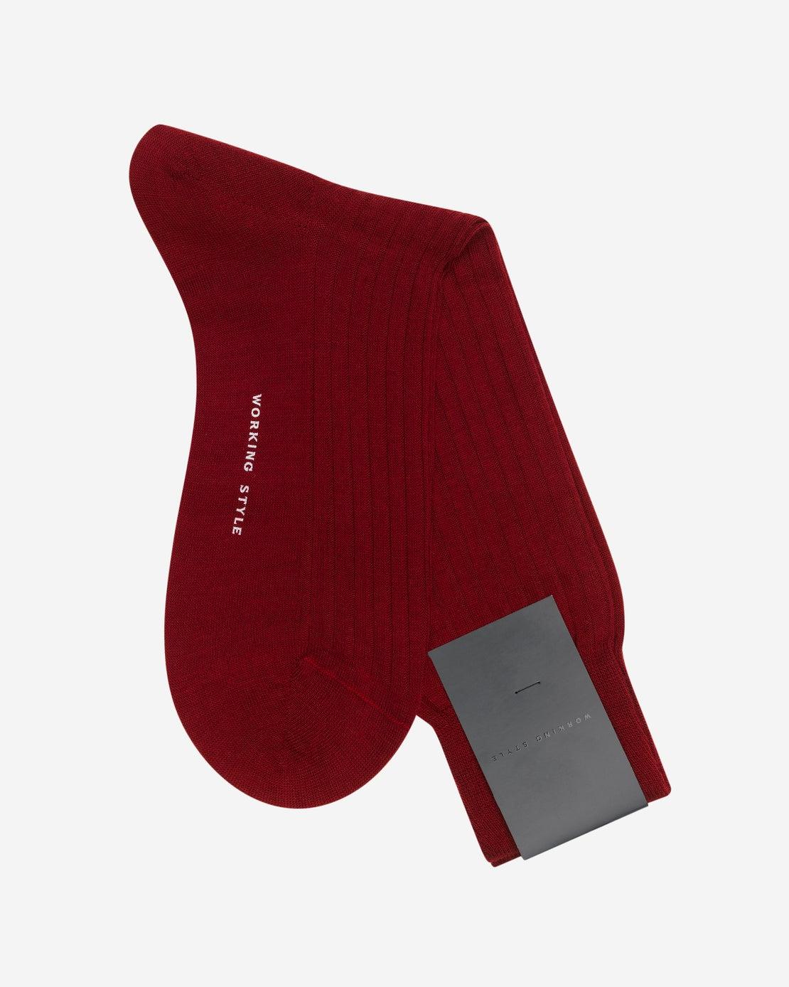 Wine Ribbed Socks