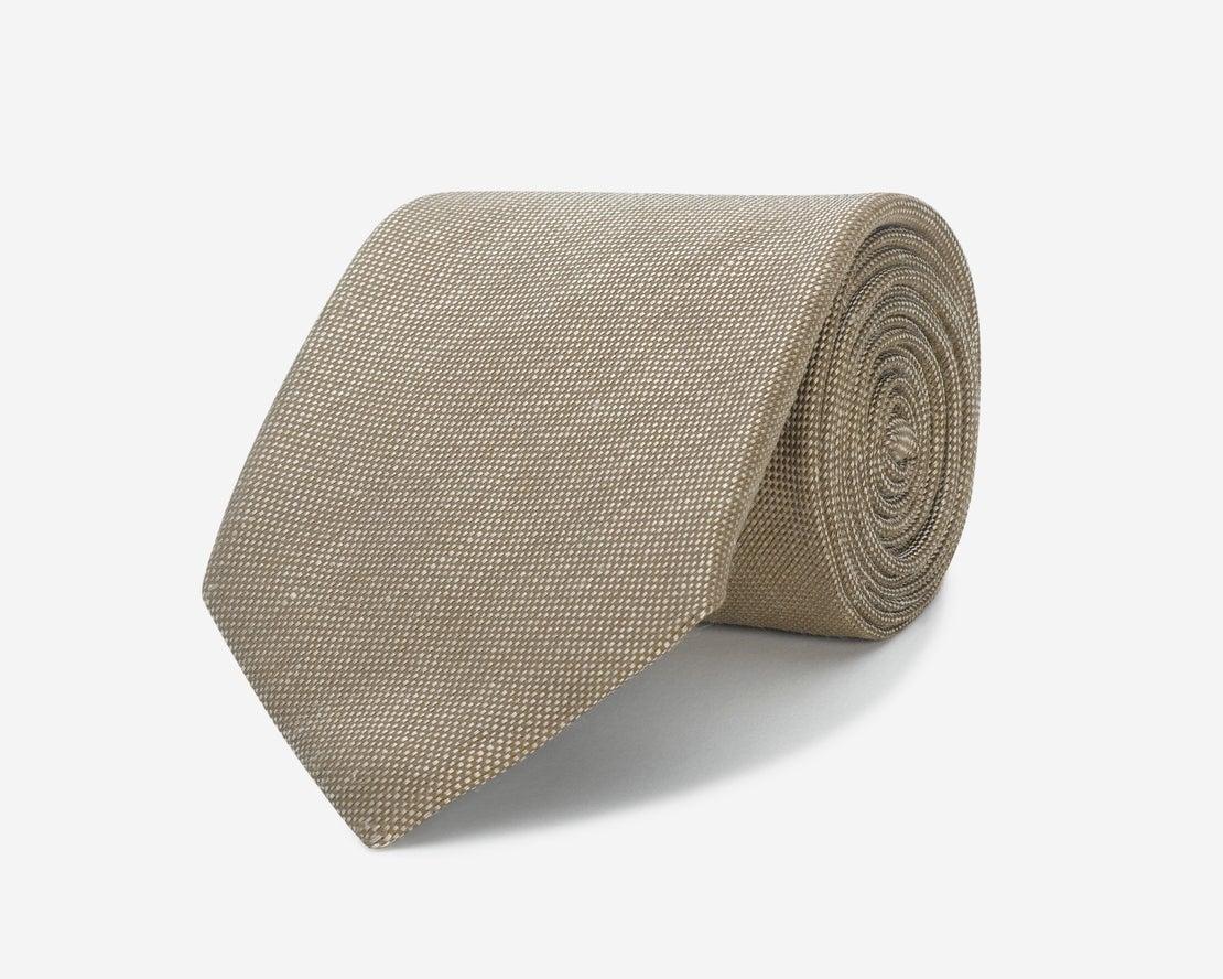 Woven Tan Linen Silk Tie