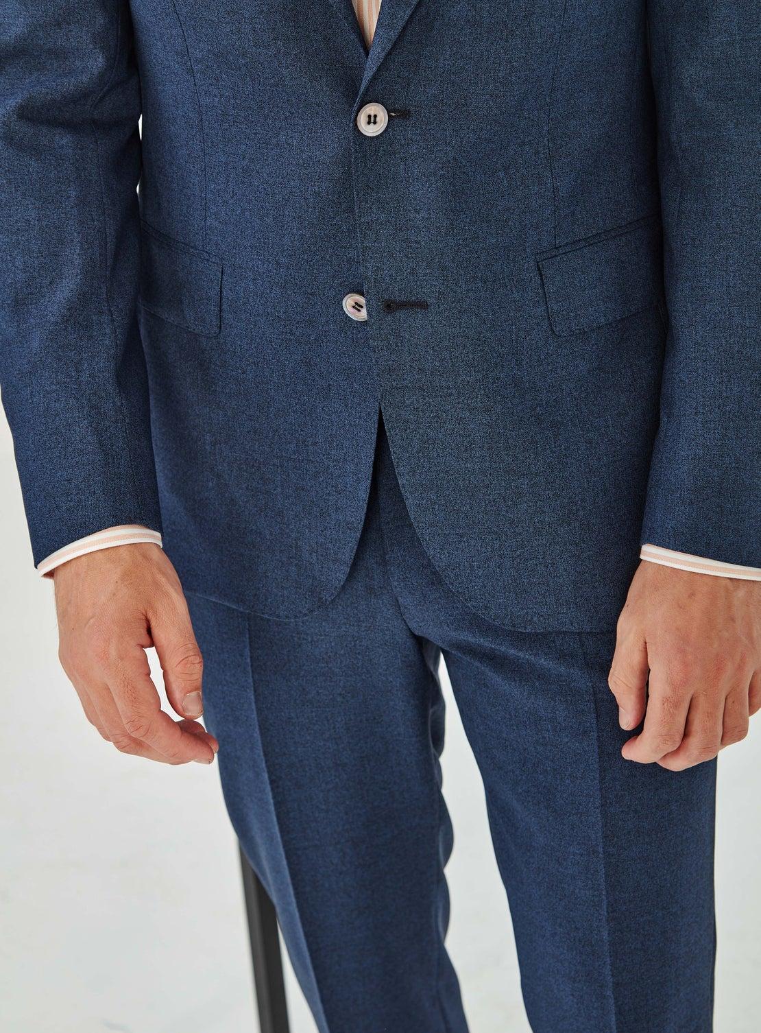 Yannick Blue Melange Suit