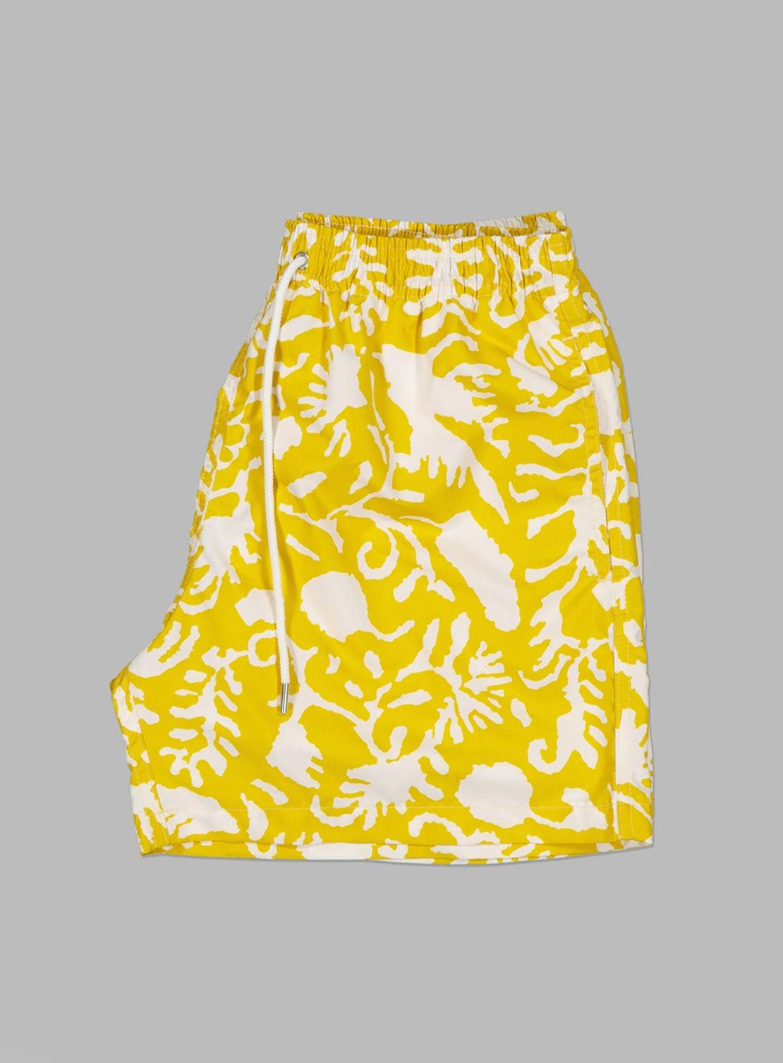 Yellow Floral Swim Trunks
